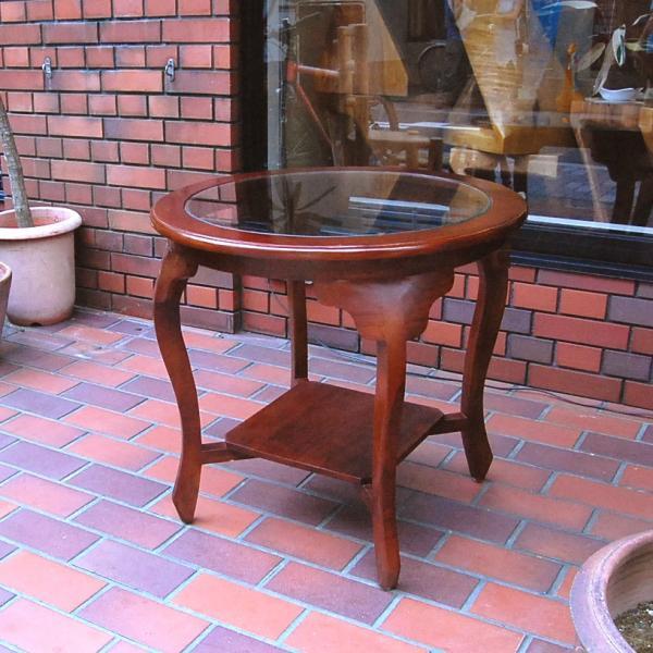 ラウンドテーブル カフェテーブル サイドテーブル ガラステーブル コーヒーテーブル 濃茶 JAVA GLASS TABLE L オリジナル家具 インドネシア直輸入|artcrew