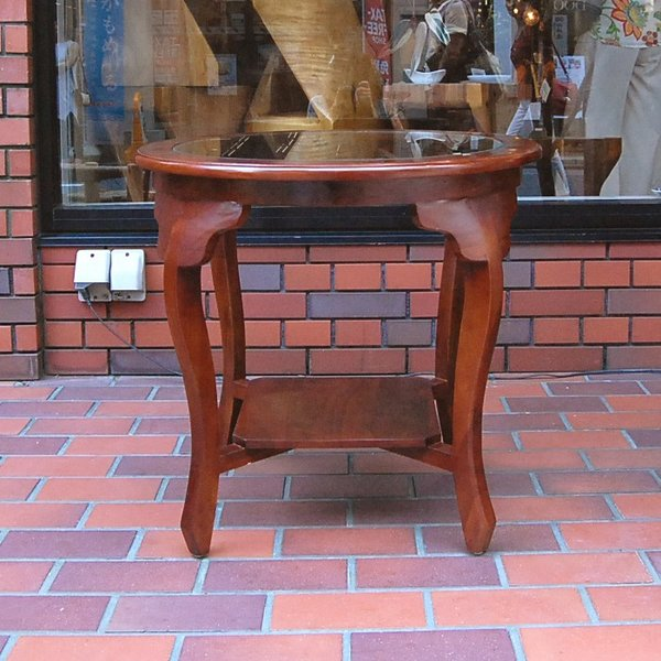 ラウンドテーブル カフェテーブル サイドテーブル ガラステーブル コーヒーテーブル 濃茶 JAVA GLASS TABLE L オリジナル家具 インドネシア直輸入|artcrew|02