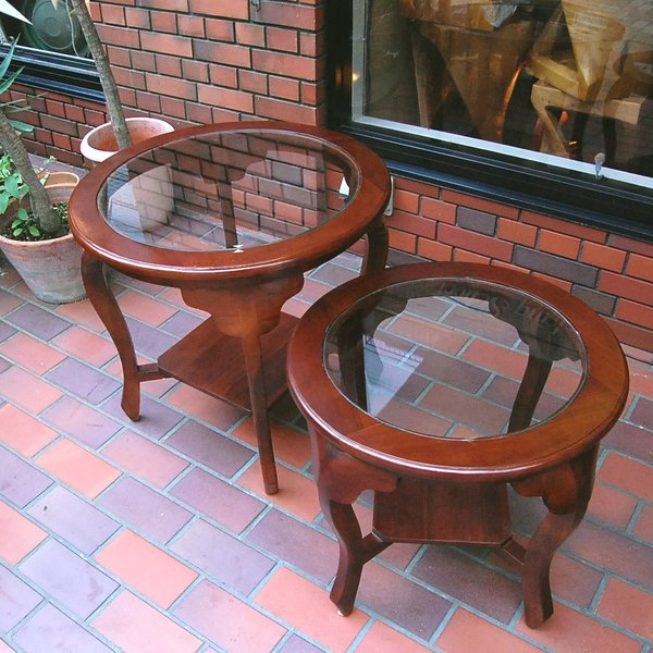 ラウンドテーブル カフェテーブル サイドテーブル ガラステーブル コーヒーテーブル 濃茶 JAVA GLASS TABLE L オリジナル家具 インドネシア直輸入|artcrew|05