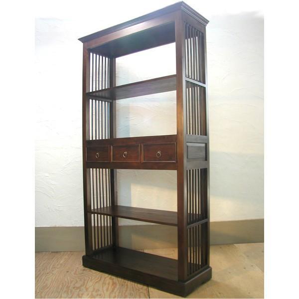 ディスプレイシェルフ・Display Shelf・引出し付オープンラック・チーク無垢材・インドネシア直輸入・真鍮金具付|artcrew