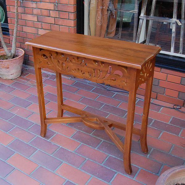 サイドテーブルカーブド・サイドテーブル・チーク無垢材・飾り彫刻・インドネシア直輸入・アンティークスタイル・コンソール artcrew