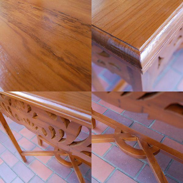 サイドテーブルカーブド・サイドテーブル・チーク無垢材・飾り彫刻・インドネシア直輸入・アンティークスタイル・コンソール artcrew 05