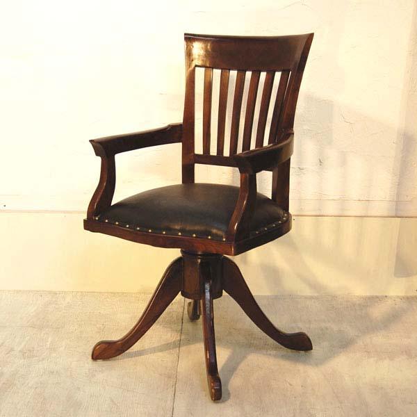 オフィスチェア・回転デスクチェア・チーク&レザー・インドネシア工房直輸入・オリジナル家具|artcrew