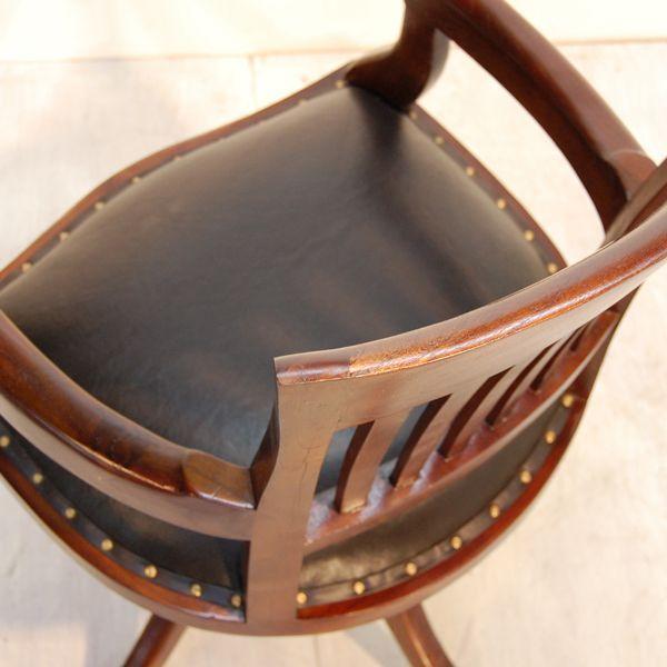 オフィスチェア・回転デスクチェア・チーク&レザー・インドネシア工房直輸入・オリジナル家具|artcrew|04