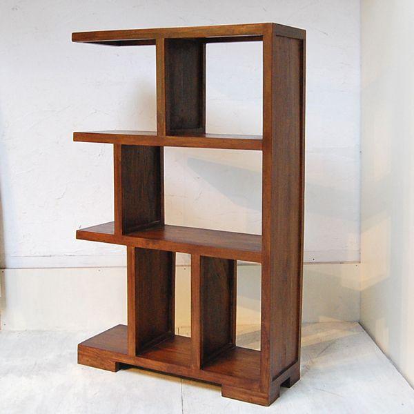 ブックケースL-R・本棚・飾り棚・チーク無垢材・インドネシア直輸入|artcrew|02