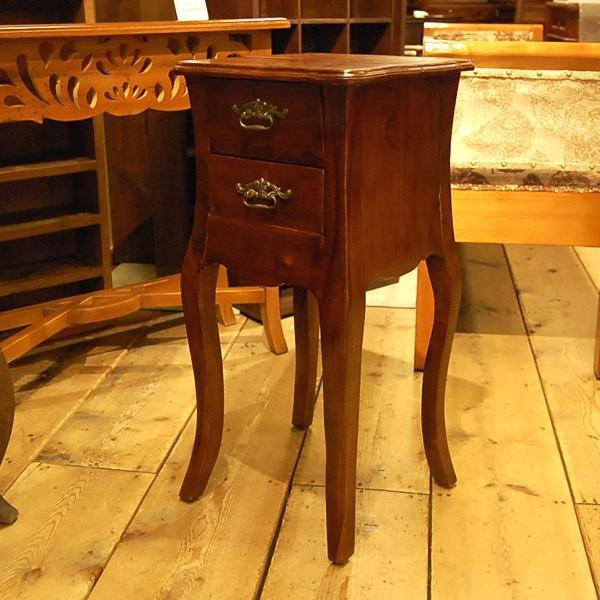 サイドテーブル2引出し・Side Table 2DRWS・ナイトテーブル・チーク無垢材・インドネシア直輸入・真鍮金具付・アンティークスタイル artcrew