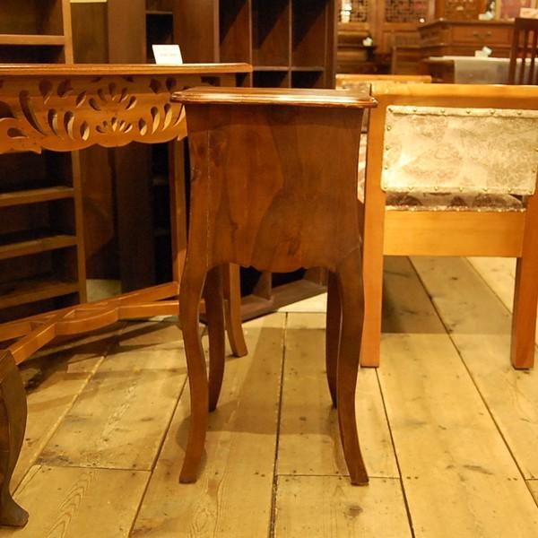 サイドテーブル2引出し・Side Table 2DRWS・ナイトテーブル・チーク無垢材・インドネシア直輸入・真鍮金具付・アンティークスタイル artcrew 03