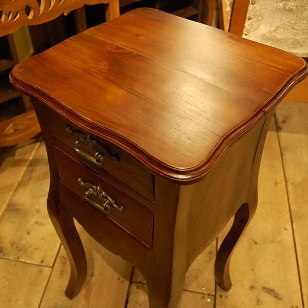 サイドテーブル2引出し・Side Table 2DRWS・ナイトテーブル・チーク無垢材・インドネシア直輸入・真鍮金具付・アンティークスタイル artcrew 04