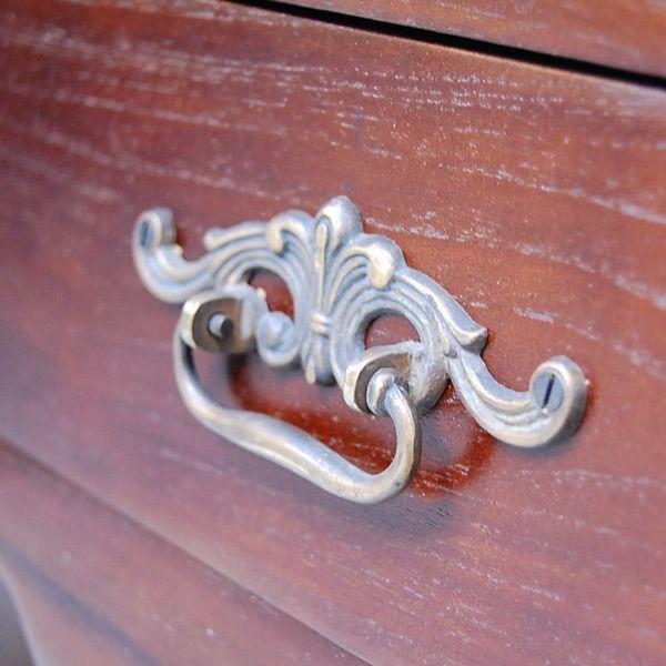 サイドテーブル2引出し・Side Table 2DRWS・ナイトテーブル・チーク無垢材・インドネシア直輸入・真鍮金具付・アンティークスタイル artcrew 06