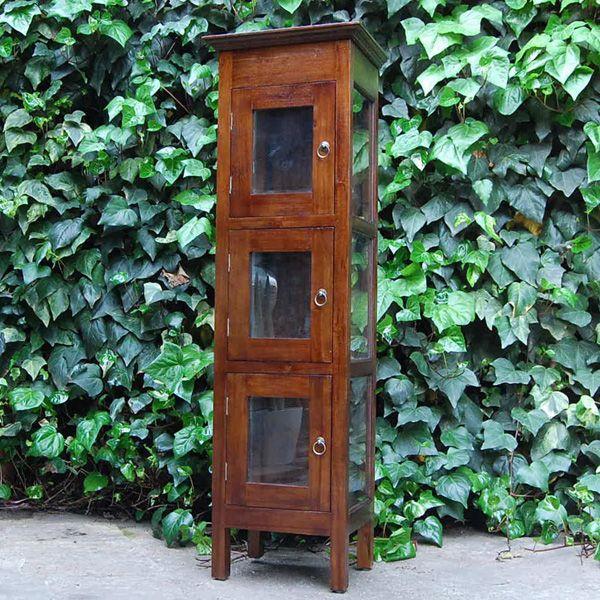 コレクションキャビネット・食器棚・3つ扉付き・チーク無垢材・インドネシア直輸入・真鍮金具付|artcrew