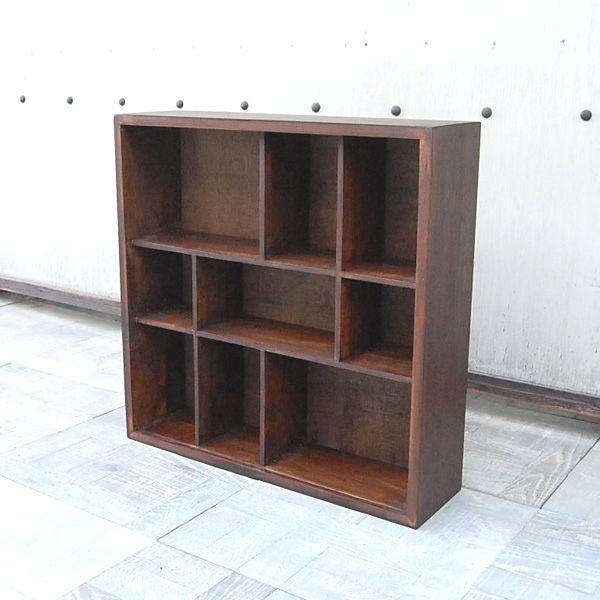 9ボックスラック・CDラック・コレクションケース・飾棚・本棚・チーク材・オリジナル家具・インドネシア直輸入|artcrew