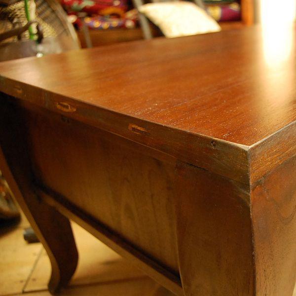 ローテーブル・引出し付・チーク無垢材・インドネシア直輸入・真鍮金具付|artcrew|05