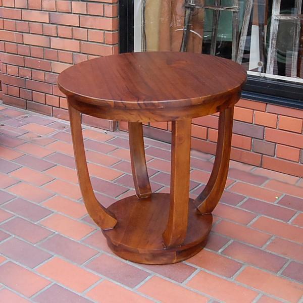 ラウンドサイドテーブル 丸テーブル コーヒーテーブル チーク無垢材・インドネシア直輸入 無垢材家具|artcrew