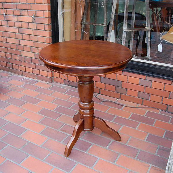 ワインテーブル・ラウンドテーブル・60cm・丸テーブル・チーク無垢材・インドネシア直輸入・アンティークスタイル artcrew