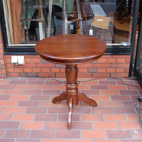 ワインテーブル・ラウンドテーブル・60cm・丸テーブル・チーク無垢材・インドネシア直輸入・アンティークスタイル artcrew 02
