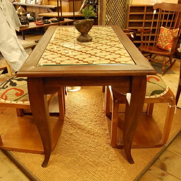 USEDダイニングテーブル130ガラス・4人掛け・チーク無垢材・組立式|artcrew|02