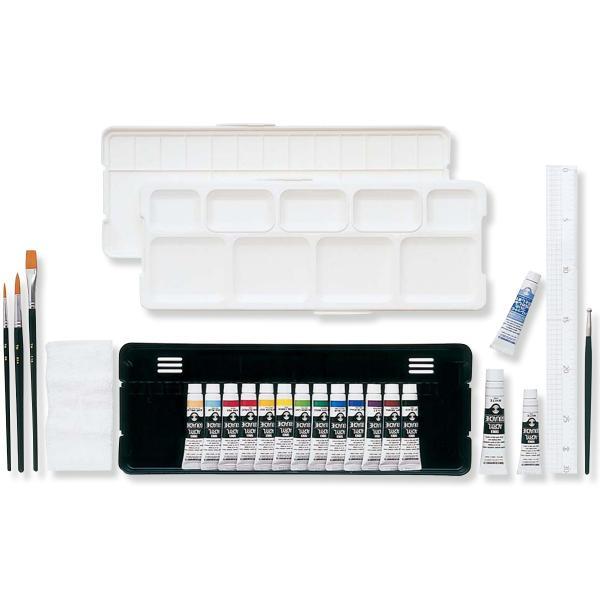 ターナー アクリルガッシュ プレンティセット 15L 11mL 14色 白2本 筆3本 定規 溝引棒 パレットクリーナー付