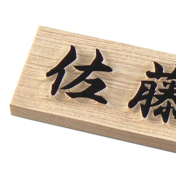 表札 (木) マンション表札 木製浮き彫り表札  天然木ひのき W1F−U artmark 03