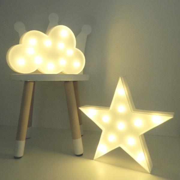 LEDライト 星 雲 ホワイト 置物 壁掛け 単3電池2本使用 スター クラウド art of black インテリア 北欧 モノトーン ウォールスタンド ベビー キッズ ルーム 海外