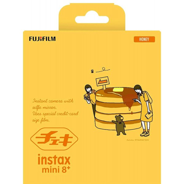 FUJIFILM インスタントカメラ チェキ instax mini8プラス 接写レンズ・純正ショルダーストラップ付き ハニー INS MINI 8PLUS HONEY