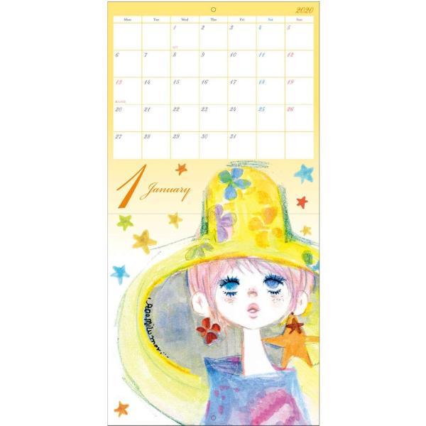 【水森亜土】2020年 壁掛けカレンダーL ウォールカレンダーL あどちゃん 亜土ちゃん artsalonwasabi 03
