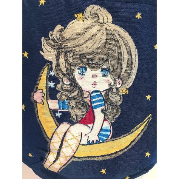 水森亜土ちゃん あどちゃん ジャガード織りトートバック「ムーン」紺 AD-1668 artsalonwasabi 03