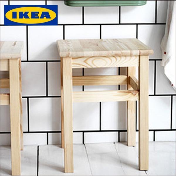イケア/IKEA /スツール パイン材/スクエア型 45cm 木製  椅子 チェア イケア/IKEA/木製スツール パイン材