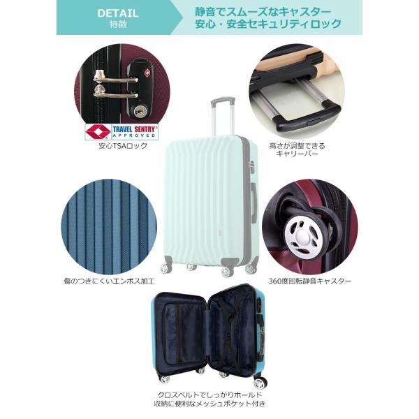 レンタル スーツケース Mサイズ 8輪 ダブルキャスター TSAロック 超軽量 3泊〜5泊用 ファスナー キャリーケース 中型 50L 8輪 旅行用品|arudake|02