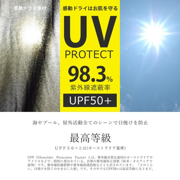 感動ドライ 吸汗速乾 接触冷感 UVカット UPF50+ 半袖 Tシャツ 脇汗対策 ラッシュガード メンズ|aruge|07