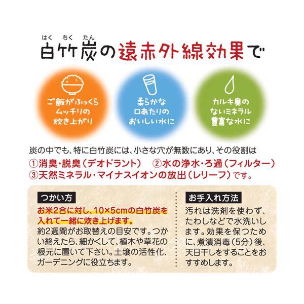 白竹炭 70g 規格外寸法 炊飯浄水用 神鍋白炭工房 送料無料|arumama|02