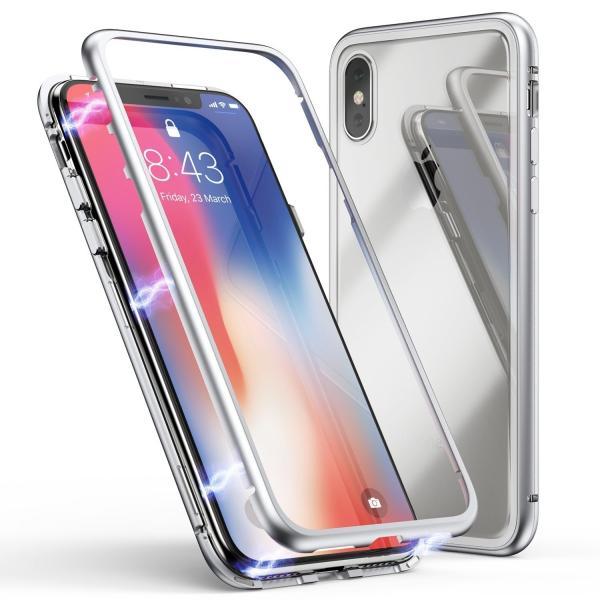 万磁王 iphone X アルミバンパーケース 贅沢透明ガラスプレート アイホンX合金フレーム マグネット自動吸着式 メタル フレーム金属人気合金|arunmui|12