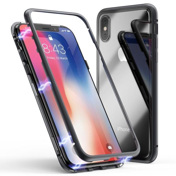 万磁王 iphone X アルミバンパーケース 贅沢透明ガラスプレート アイホンX合金フレーム マグネット自動吸着式 メタル フレーム金属人気合金|arunmui|13