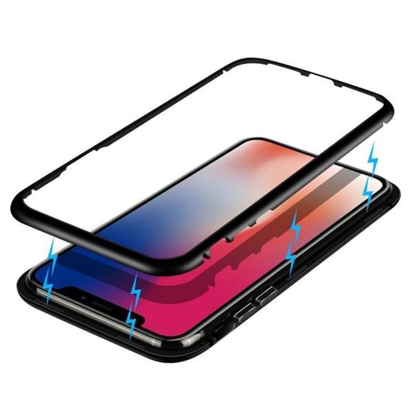 万磁王 iphone X アルミバンパーケース 贅沢透明ガラスプレート アイホンX合金フレーム マグネット自動吸着式 メタル フレーム金属人気合金|arunmui|15