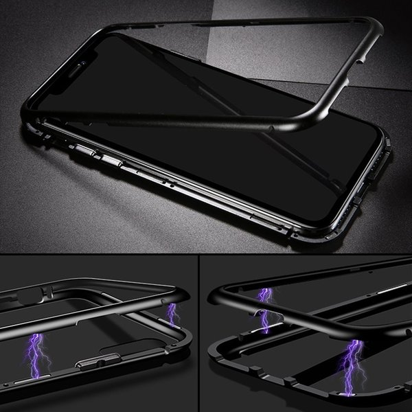 万磁王 iphone X アルミバンパーケース 贅沢透明ガラスプレート アイホンX合金フレーム マグネット自動吸着式 メタル フレーム金属人気合金|arunmui|16
