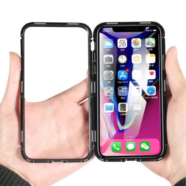 万磁王 iphone X アルミバンパーケース 贅沢透明ガラスプレート アイホンX合金フレーム マグネット自動吸着式 メタル フレーム金属人気合金|arunmui|17