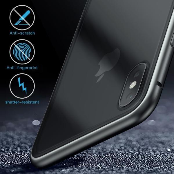 万磁王 iphone X アルミバンパーケース 贅沢透明ガラスプレート アイホンX合金フレーム マグネット自動吸着式 メタル フレーム金属人気合金|arunmui|18