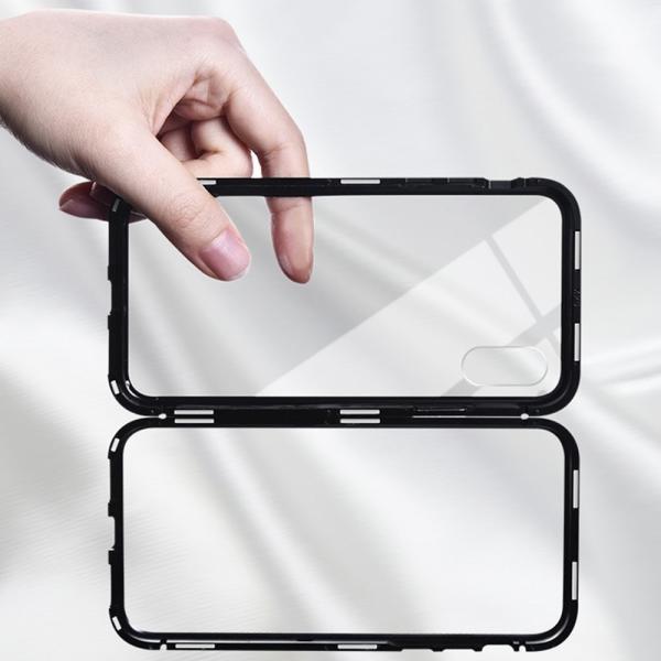 万磁王 iphone X アルミバンパーケース 贅沢透明ガラスプレート アイホンX合金フレーム マグネット自動吸着式 メタル フレーム金属人気合金|arunmui|20