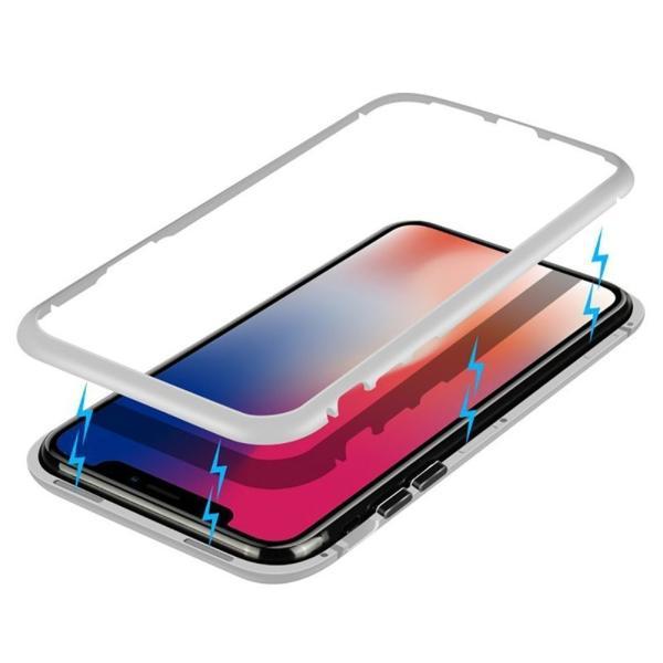 万磁王 iphone X アルミバンパーケース 贅沢透明ガラスプレート アイホンX合金フレーム マグネット自動吸着式 メタル フレーム金属人気合金|arunmui|21