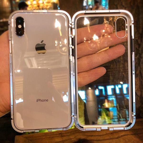 万磁王 iphone X アルミバンパーケース 贅沢透明ガラスプレート アイホンX合金フレーム マグネット自動吸着式 メタル フレーム金属人気合金|arunmui|05