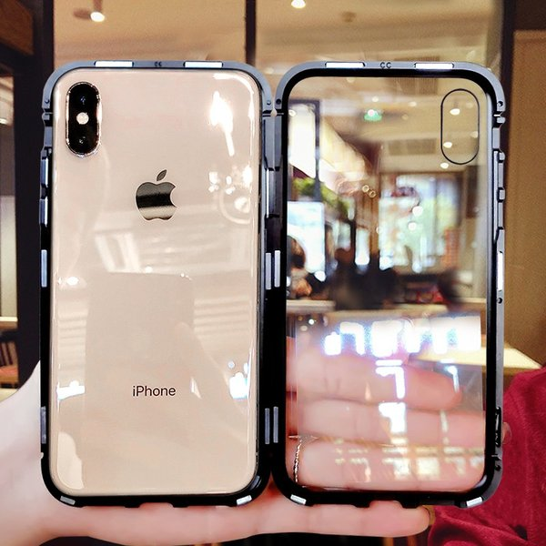 万磁王 iphone X アルミバンパーケース 贅沢透明ガラスプレート アイホンX合金フレーム マグネット自動吸着式 メタル フレーム金属人気合金|arunmui|06