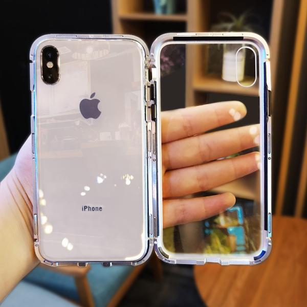 万磁王 iphone X アルミバンパーケース 贅沢透明ガラスプレート アイホンX合金フレーム マグネット自動吸着式 メタル フレーム金属人気合金|arunmui|07