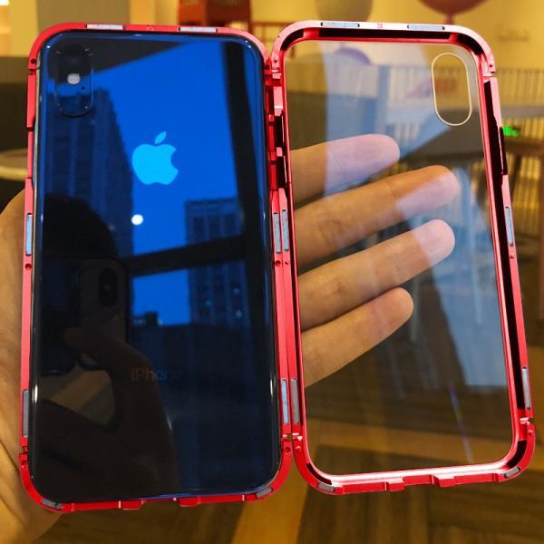 万磁王 iphone X アルミバンパーケース 贅沢透明ガラスプレート アイホンX合金フレーム マグネット自動吸着式 メタル フレーム金属人気合金|arunmui|08