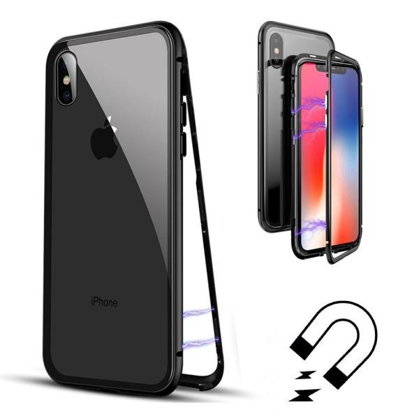 万磁王 iphone X アルミバンパーケース 贅沢透明ガラスプレート アイホンX合金フレーム マグネット自動吸着式 メタル フレーム金属人気合金|arunmui|09
