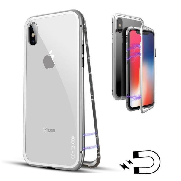 万磁王 iphone X アルミバンパーケース 贅沢透明ガラスプレート アイホンX合金フレーム マグネット自動吸着式 メタル フレーム金属人気合金|arunmui|10