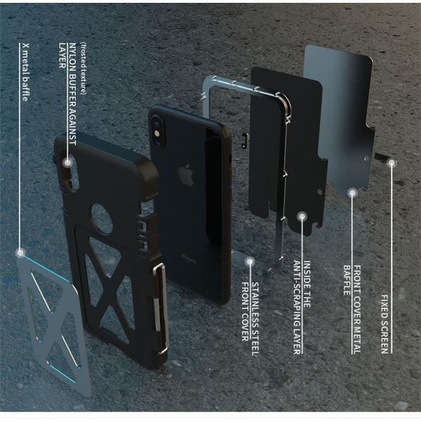 鋼鉄の王 iPhone XR iphoneXs Max iphone Xs ケース ARMOR KING 手帳型 横開き スタンド機能 史上最強ステンレス金属合金iphoneXカバーアルミバンパー|arunmui|06