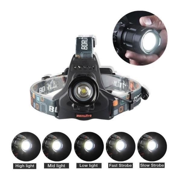 CREE XM-L2 BORUiT RJ-2157 ヘッドライト 広角ズーム機能 充電器、電池、USB充電コード、電池ケースのセット