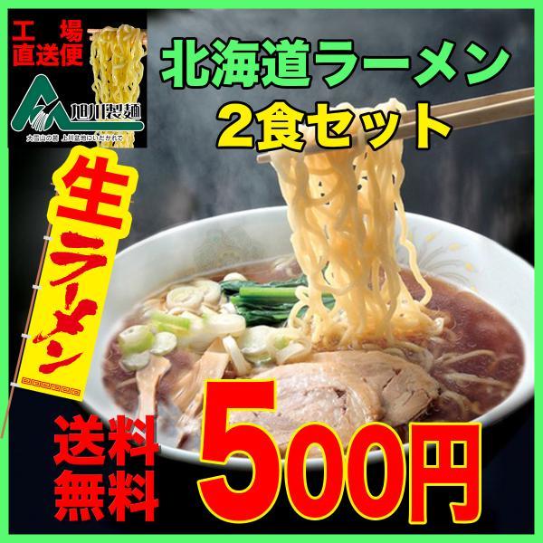 ポイント消化 送料無料 お試し 500円 メール便 北海道 旭川 生ラーメン2食セット|asahikawaseimen