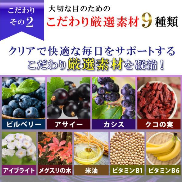 厳選素材,配合,配合量,ビルベリー,ブルーベリー,アサイー,クコの実,アイブライト,メグスリの木,米油,ビタミンB1,ビタミンB6