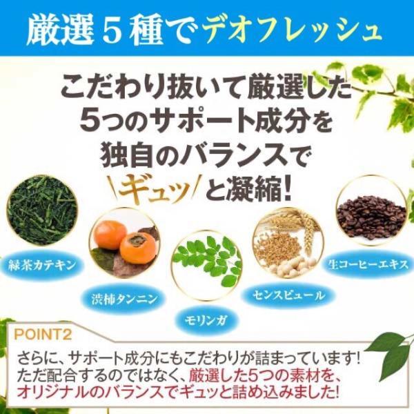 デオブロック、5種類、デオフレッシュ、緑茶カテキン、渋柿タンニン、モリンガ、センスピュール、生コーヒーエキス、凝縮