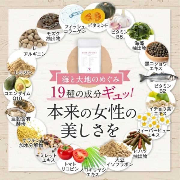 ビタミンE、ビタミンB6、海藻、黒胡椒、ビタミンB2、イチョウ葉、フィーバーヒュー、ヒハツ、大豆イソフラボン、ノコギリヤシ、トマトリコピン、ミレット、ケラチン加水分解物、亜鉛含有酵母、コエンザイムQ10、L-リジン、L-アルギニン、モズク抽出物、フィッシュコラーゲン